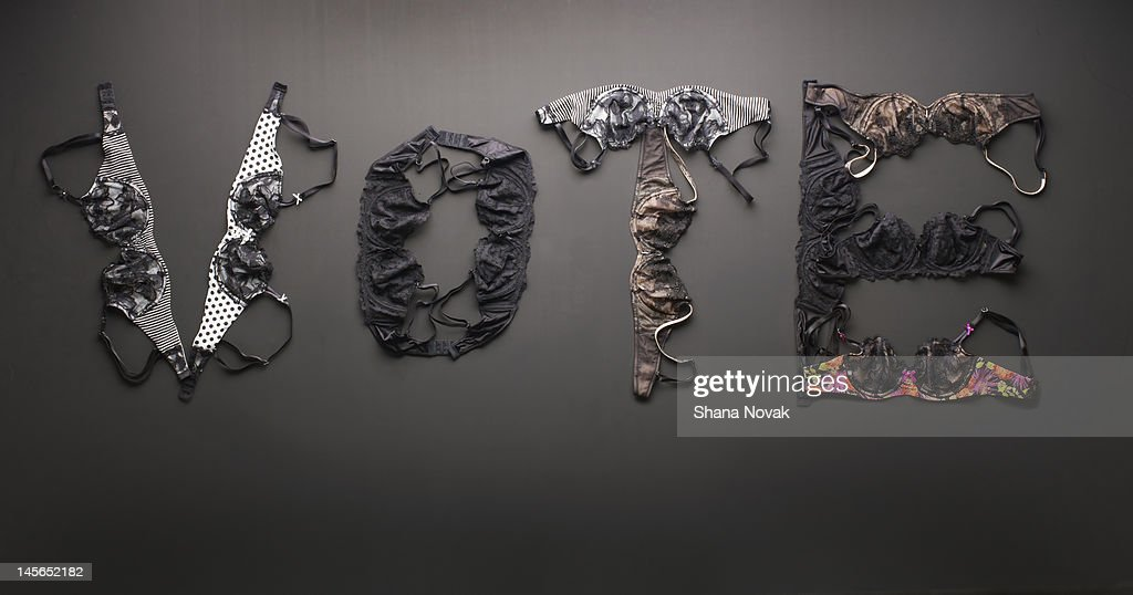 VOTE Spelled With Bras : Stock Photo