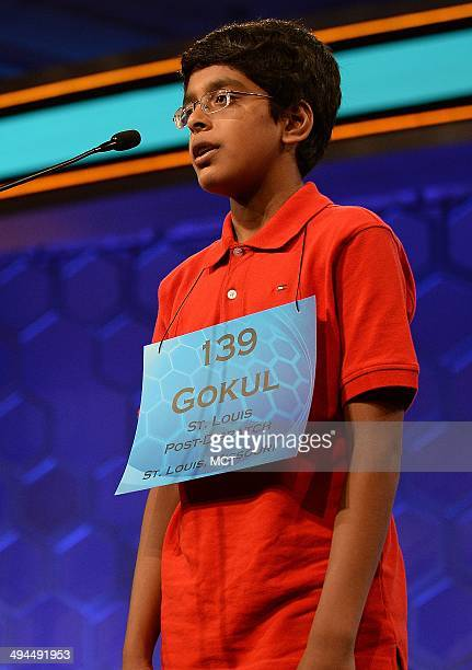 Speller Gokul Venkatachalam of Chesterfield Mo competes in the finals of the 2014 Scripps National Spelling Bee in National Harbor Md Thursday May 29...