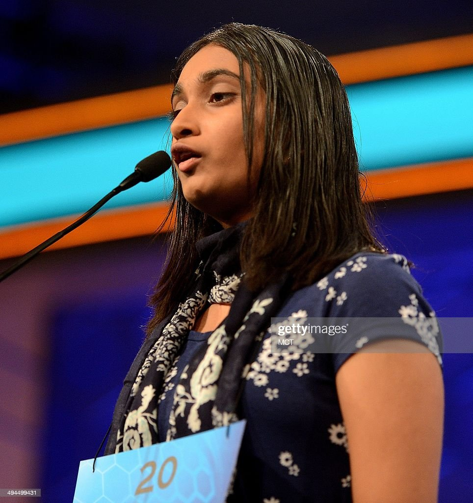 Speller Neha Konakalla, of Cupertino, Calif., competes in the finals of the 2014 Scripps National Spelling Bee in National Harbor, Md., Thursday, May 29, 2014.
