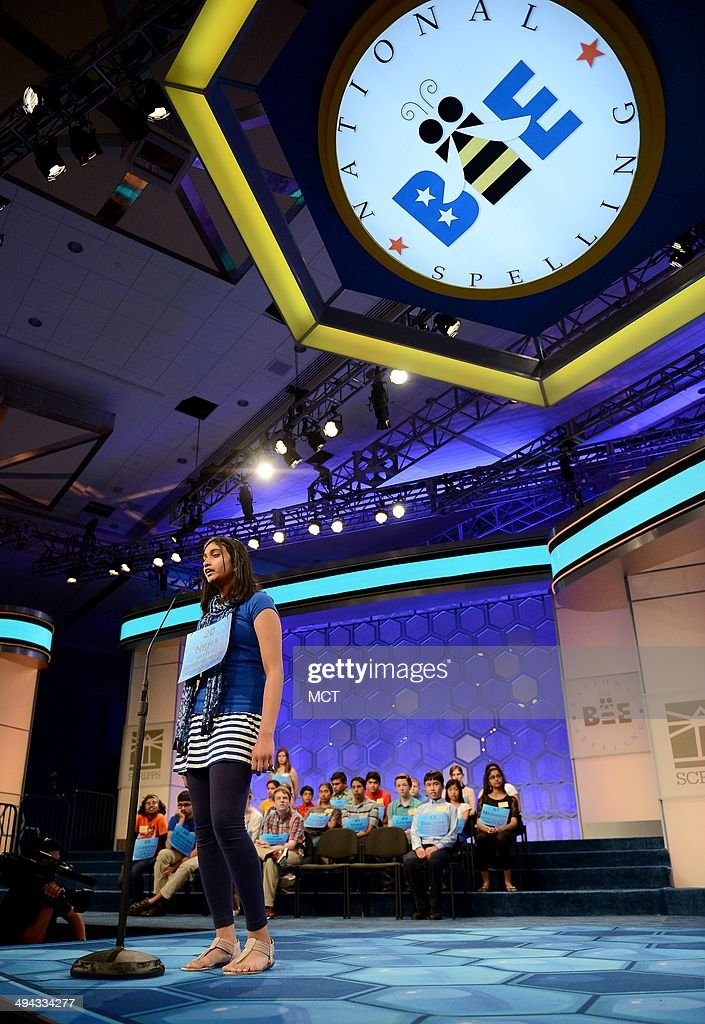 Speller Neha Konakalla, of Cupertino, Calif., competes in the semifinals of the 2014 Scripps National Spelling Bee in National Harbor, Md., Thursday, May 29, 2014.