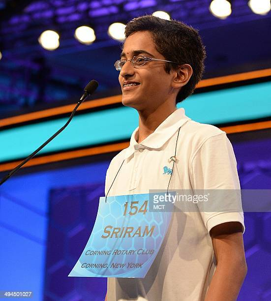 Speller Sriram Hathwar of Painted Post NY competes in the finals of the 2014 Scripps National Spelling Bee in National Harbor Md Thursday May 29 2014