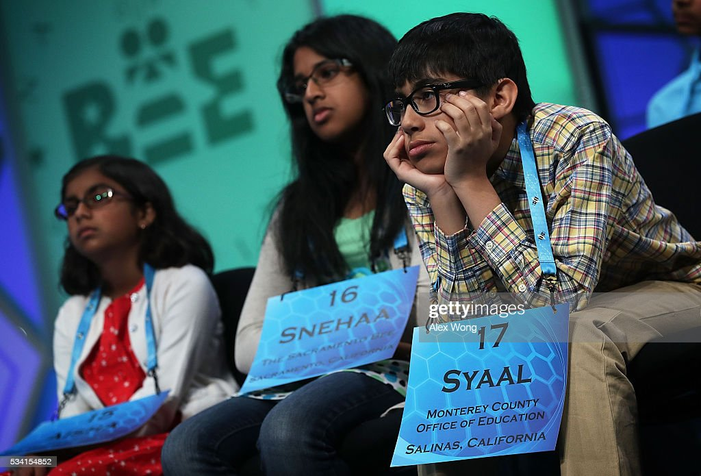 Spellers wait for their turns to spell during the 2016 Scripps National Spelling Bee May 25, 2016 in National Harbor, Maryland. Students from across the country gathered to compete for top honor of the annual spelling championship.