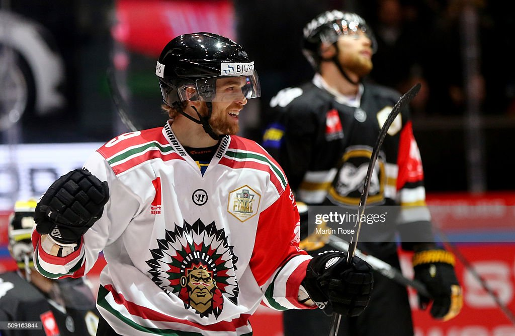 Spencer Abbott of Gothenburg celebrates after he scores the 2nd goal during the Champions Hockey League final game between Karpat Oulu and Frolunda Gothenburg at Oulun Energia-Areena on February 9, 2016 in Oulu, Finland.