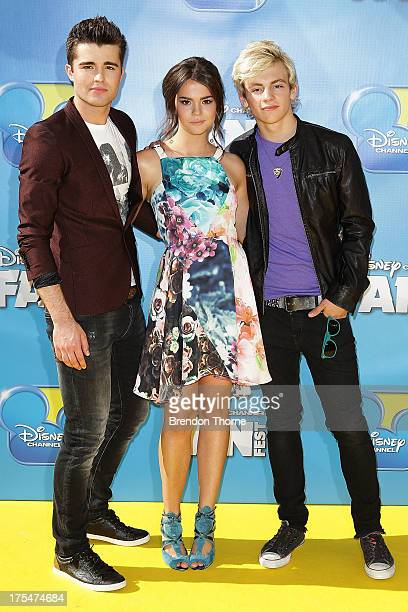 Spencer Boldman Maia Mitchell and Ross Lynch arrives at the Australian premiere of 'Teen Beach Movie' at The Entertainment Quarter on August 4 2013...