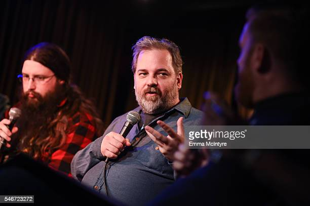 Spencer Crittenden and writer/actor Dan Harmon attend the Seeso original screening of 'HarmonQuest' with Dan Harmon at The Virgil on July 12 2016 in...