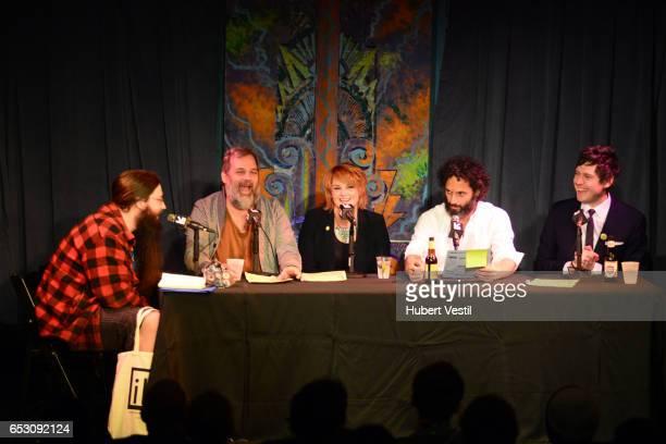 Spencer Crittenden writer Dan Harmon comedian Erin McGathy actor/comedian Jason Mantzoukas and actor/comedian Jeff B Davis perform onstage at...