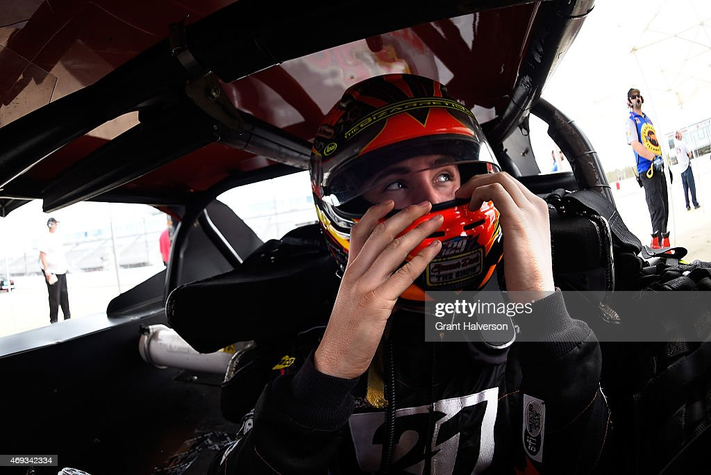 <a gi-track='captionPersonalityLinkClicked' href=/galleries/search?phrase=Spencer+Davis&family=editorial&specificpeople=929463 ng-click='$event.stopPropagation()'>Spencer Davis</a>, driver of the #79 Coors Light /Le Bleu Water/Davis Poultry Pontiac prepares for a practice session for the NWSMT Pepsi 150 at Langley Speedway on April 11, 2015 in Hampton, Virginia.