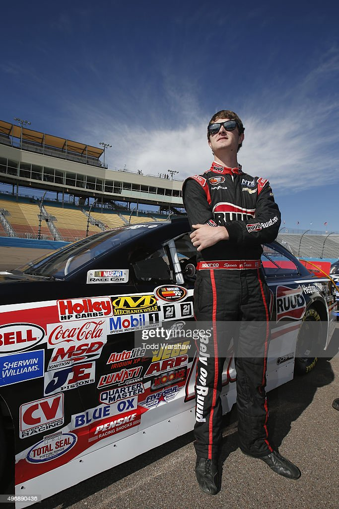 <a gi-track='captionPersonalityLinkClicked' href=/galleries/search?phrase=Spencer+Davis&family=editorial&specificpeople=929463 ng-click='$event.stopPropagation()'>Spencer Davis</a>, driver of the #20 Ruud Chevrolet, stands on the grid during qualifying for the NASCAR K&N Pro Series West Casino Arizona 100 at Phoenix International Raceway on November 12, 2015 in Avondale, Arizona.