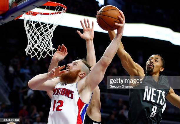 Spencer Dinwiddie of the Brooklyn Nets blocks the shot of Aron Baynes of the Detroit Pistons during the first half at the Palace of Auburn Hills on...