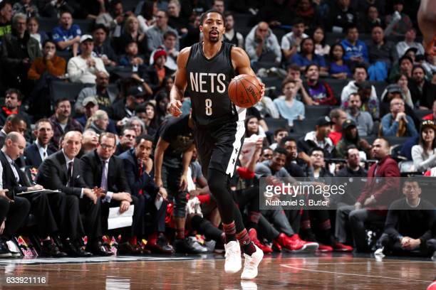 Spencer Dinwiddie of the Brooklyn Nets brings the ball up court during the game against the Toronto Raptors on February 5 2017 at Barclays Center in...