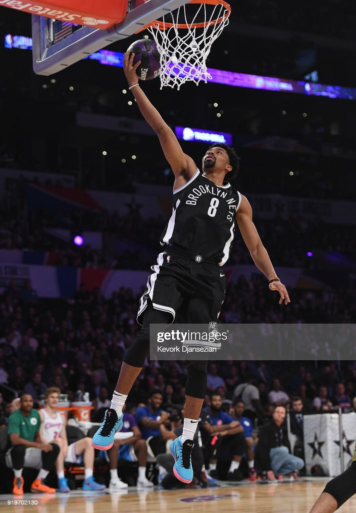 Spencer Dinwiddie #8 of the Brooklyn Nets competes in the 2018 Taco Bell Skills Challenge at Staples Center on February 17, 2018 in Los Angeles, California.