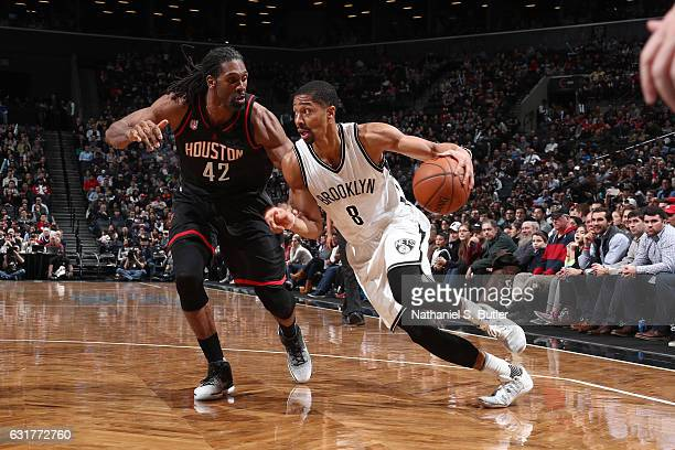 Spencer Dinwiddie of the Brooklyn Nets drives to the basket against the Houston Rockets on January 15 2017 at Barclays Center in Brooklyn New York...