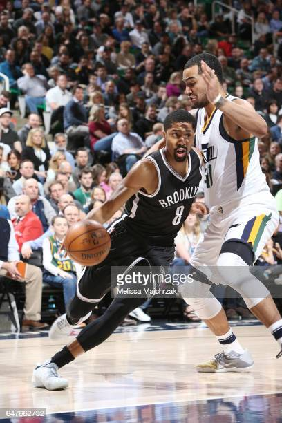 Spencer Dinwiddie of the Brooklyn Nets drives to the basket against Trey Lyles of the Utah Jazz during the game on March 3 2017 at vivintSmartHome...