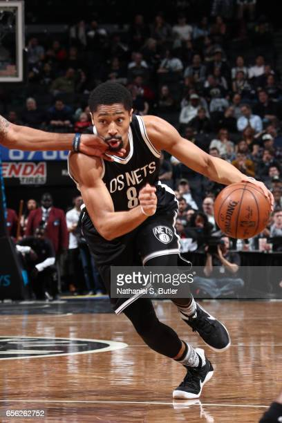 Spencer Dinwiddie of the Brooklyn Nets drives to the basket against the Detroit Pistons on March 21 2017 at Barclays Center in Brooklyn New York NOTE...