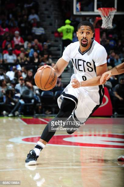 Spencer Dinwiddie of the Brooklyn Nets drives to the basket against the Atlanta Hawks on March 26 2017 at Philips Arena in Atlanta Georgia NOTE TO...
