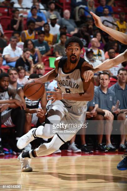 Spencer Dinwiddie of the Brooklyn Nets drives to the basket against the Denver Nuggets during the 2017 Las Vegas Summer League game on July 13 2017...