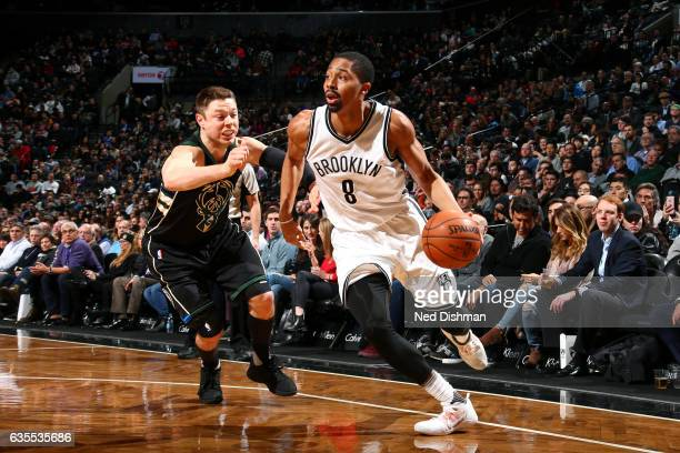 Spencer Dinwiddie of the Brooklyn Nets drives to the basket during the game against the Milwaukee Bucks on February 15 2017 at Barclays Center in...
