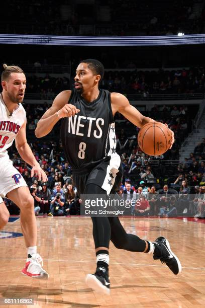 Spencer Dinwiddie of the Brooklyn Nets drives to the basket during the game against the Detroit Pistons on March 30 2017 at The Palace of Auburn...