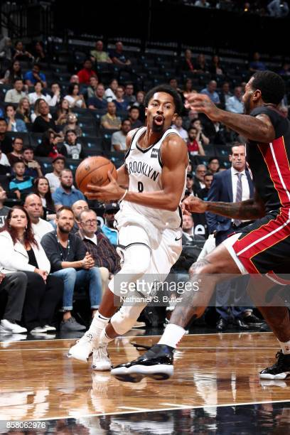 Spencer Dinwiddie of the Brooklyn Nets drives to the basket during the game against the Miami Heat during a preseason game on October 5 2017 at...