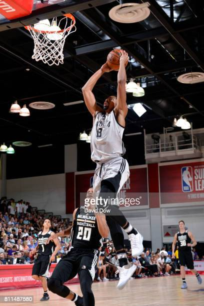 Spencer Dinwiddie of the Brooklyn Nets dunks the ball during the game against the Milwaukee Bucks during the 2017 Las Vegas Summer League on July 9...
