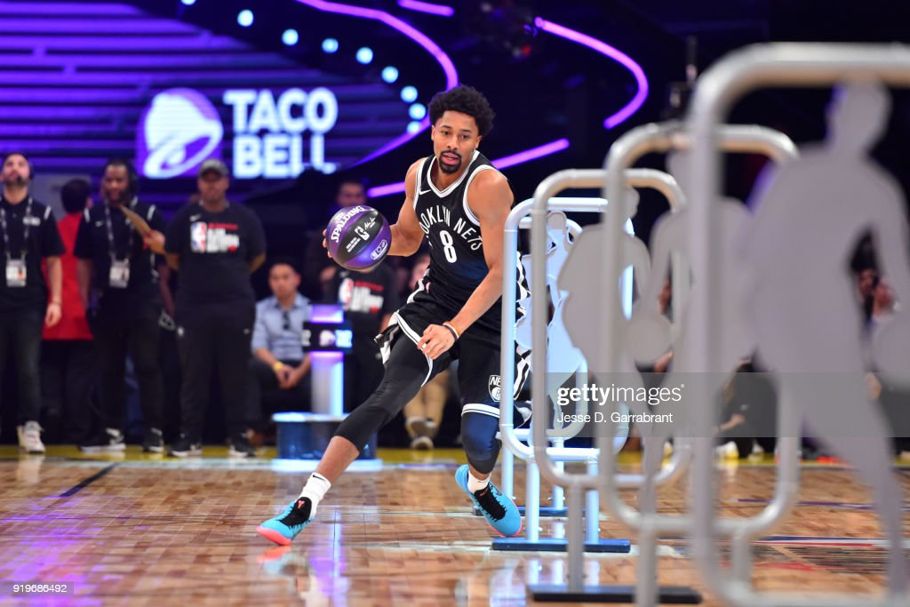 Spencer Dinwiddie #8 of the Brooklyn Nets during the Taco Bell Skills Challenge during State Farm All-Star Saturday Night as part of the 2018 NBA All-Star Weekend on February 17, 2018 at STAPLES Center in Los Angeles, California.