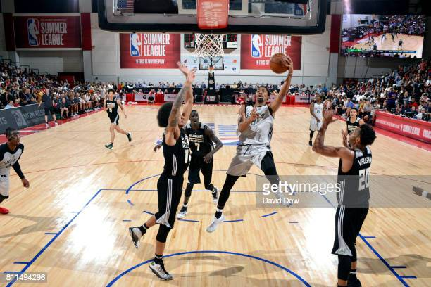 Spencer Dinwiddie of the Brooklyn Nets goes for a lay up during the game against the Milwaukee Bucks during the 2017 Las Vegas Summer League on July...