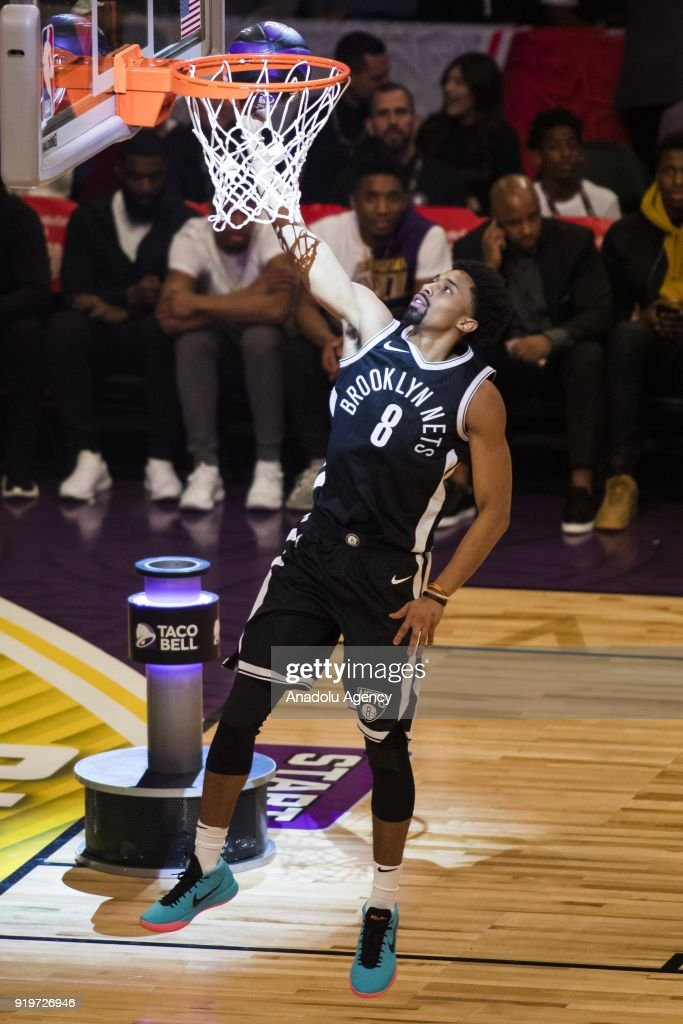 Spencer Dinwiddie #8 of the Brooklyn Nets goes for the lay up during the Taco Bell Skills Contest, during State Farm All-Star Saturday Night, as part of All-Star Weekend at the Staples Center in Los Angeles, California on February 17, 2018.