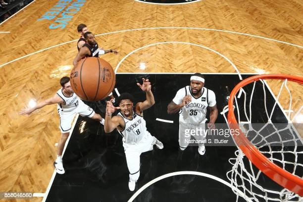 Spencer Dinwiddie of the Brooklyn Nets goes for the rebound during the game against the Miami Heat during a preseason game on October 5 2017 at...