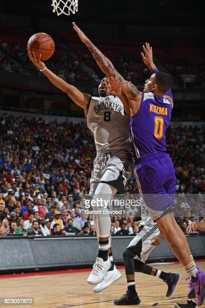 Spencer Dinwiddie of the Brooklyn Nets goes to the basket against the Los Angeles Lakers during the Quarterfinals of the 2017 Las Vegas Summer League...