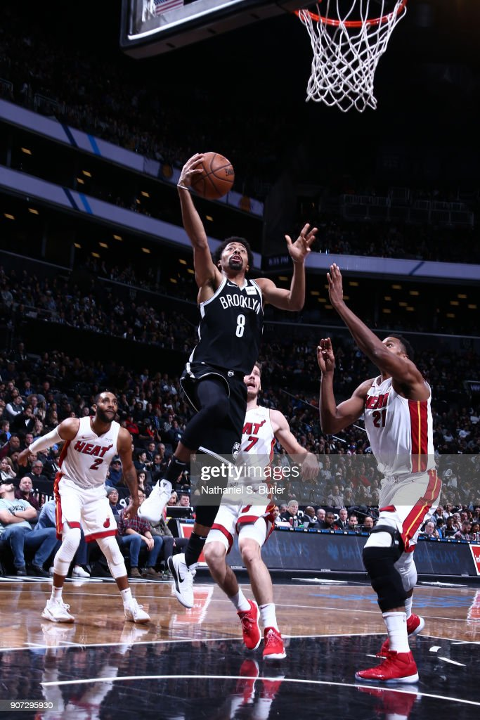 Spencer Dinwiddie #8 of the Brooklyn Nets goes to the basket against the Miami Heat on January 19, 2018 at Barclays Center in Brooklyn, New York.