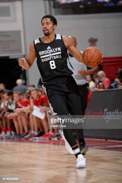 Spencer Dinwiddie of the Brooklyn Nets goes to the sideline against the Atlanta Hawks during the 2017 Las Vegas Summer League on July 7 2017 at the...