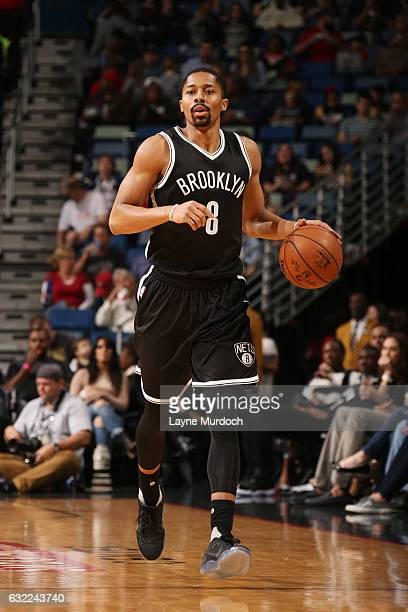 Spencer Dinwiddie of the Brooklyn Nets handles the ball against the New Orleans Pelicans on January 20 2017 at the Smoothie King Center in New...