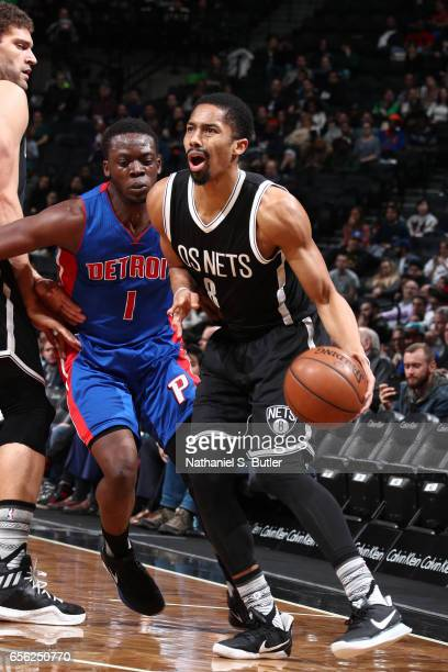 Spencer Dinwiddie of the Brooklyn Nets handles the ball against the Detroit Pistons on March 21 2017 at Barclays Center in Brooklyn New York NOTE TO...