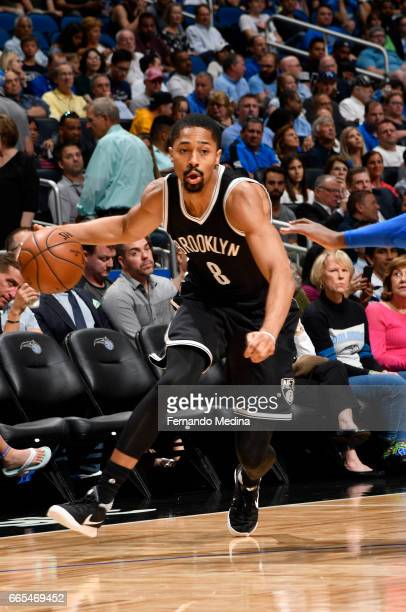 Spencer Dinwiddie of the Brooklyn Nets handles the ball against the Orlando Magic during the game on April 6 2017 at Amway Center in Orlando Florida...