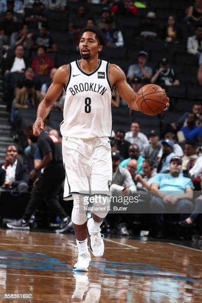 Spencer Dinwiddie of the Brooklyn Nets handles the ball against the Miami Heat during a preseason game on October 5 2017 at Barclays Center in...