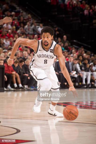 Spencer Dinwiddie of the Brooklyn Nets handles the ball against the Portland Trail Blazers on November 10 2017 at the Moda Center Arena in Portland...