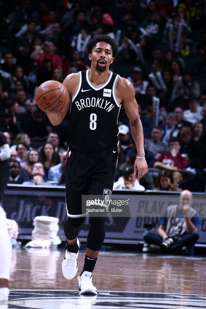 Spencer Dinwiddie #8 of the Brooklyn Nets handles the ball against the Miami Heat on January 19, 2018 at Barclays Center in Brooklyn, New York.