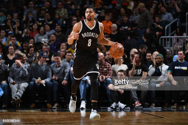Spencer Dinwiddie of the Brooklyn Nets handles the ball during a game against the Denver Nuggets on February 24 2017 at the Pepsi Center in Denver...