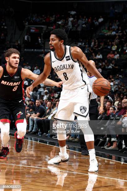 Spencer Dinwiddie of the Brooklyn Nets handles the ball during the game against the Miami Heat during a preseason game on October 5 2017 at Barclays...