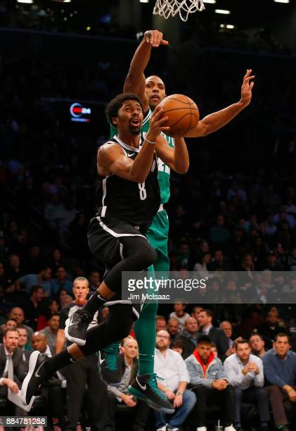 Spencer Dinwiddie of the Brooklyn Nets in action against Al Horford of the Boston Celtics at Barclays Center on November 14 2017 in the Brooklyn...