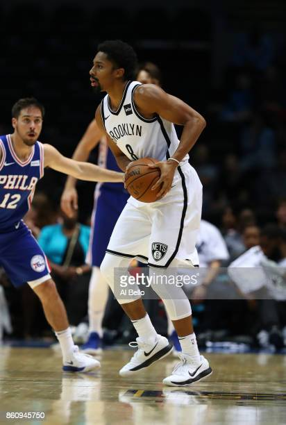 Spencer Dinwiddie of the Brooklyn Nets in action against the Philadelphia 76ers during their Pre Season game at Nassau Veterans Memorial Coliseum on...