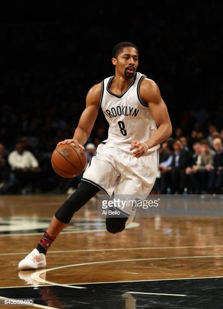 Spencer Dinwiddie of the Brooklyn Nets in action against the New York Knicks during their game at the Barclays Center on February 1 2017 in New York...