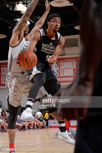 Spencer Dinwiddie of the Brooklyn Nets looks to pass against the Atlanta Hawks during the 2017 Las Vegas Summer League on July 7 2017 at the Cox...