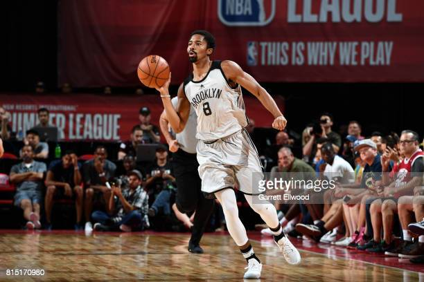 Spencer Dinwiddie of the Brooklyn Nets passes the ball during the game against the Los Angeles Lakers during the Quarterfinals of the 2017 Las Vegas...