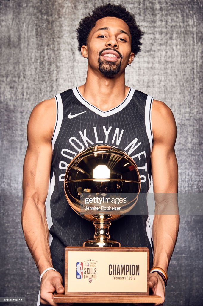 Spencer Dinwiddie of the Brooklyn Nets poses wh the trophy after winning the Taco Bell Skills Challenge during All-Star Saturday Night as part of 2018 NBA All-Star Weekend on February 17, 2018 at the Staples Center in Los Angeles, California.
