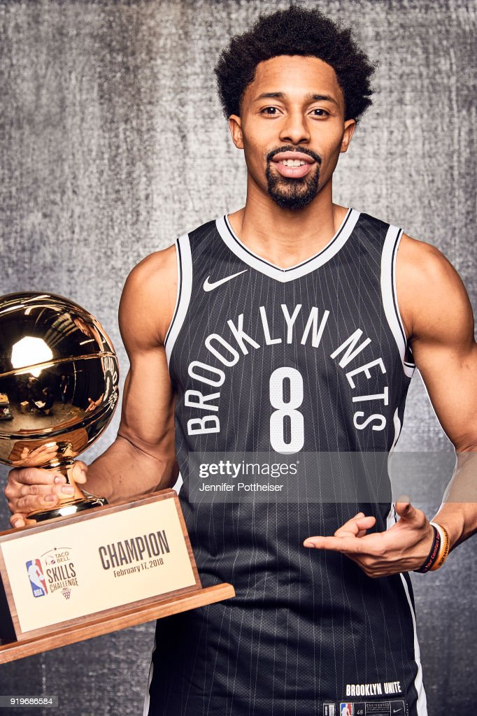 Spencer Dinwiddie of the Brooklyn Nets poses with the trophy after winning the Taco Bell Skills Challenge during All-Star Saturday Night as part of 2018 NBA All-Star Weekend on February 17, 2018 at the Staples Center in Los Angeles, California.