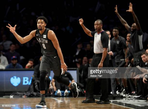 Spencer Dinwiddie of the Brooklyn Nets reacts after making a three point shot in the fourth quarter against the Portland Trail Blazers at Barclays...