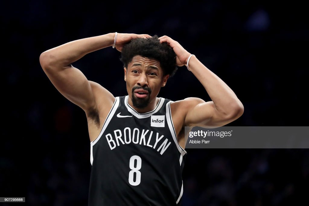 Spencer Dinwiddie #8 of the Brooklyn Nets reacts after missing a shot to end the second quarter against the Miami Heat during their game at Barclays Center on January 19, 2018 in the Brooklyn borough of New York City.