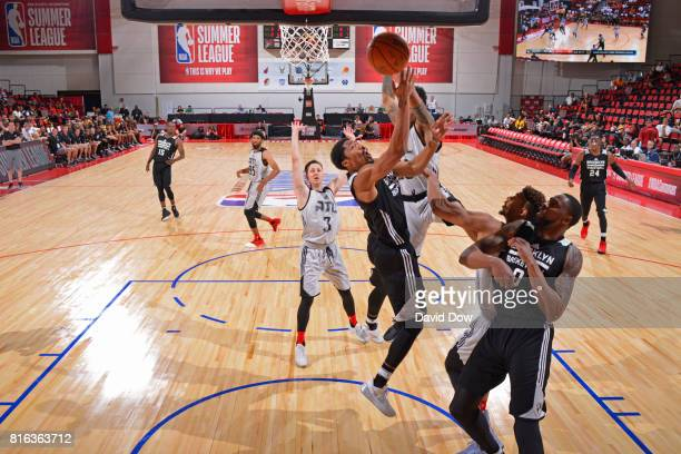 Spencer Dinwiddie of the Brooklyn Nets rebounds against the Atlanta Hawks during the 2017 Las Vegas Summer League on July 7 2017 at the Cox Pavilion...