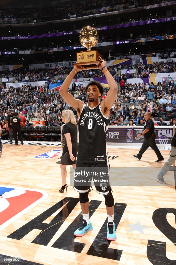 Spencer Dinwiddie #8 of the Brooklyn Nets receives the Champions trophy after the Taco Bell Skills Challenge during State Farm All-Star Saturday Night as part of the 2018 NBA All-Star Weekend on February 17, 2018 at STAPLES Center in Los Angeles, California.